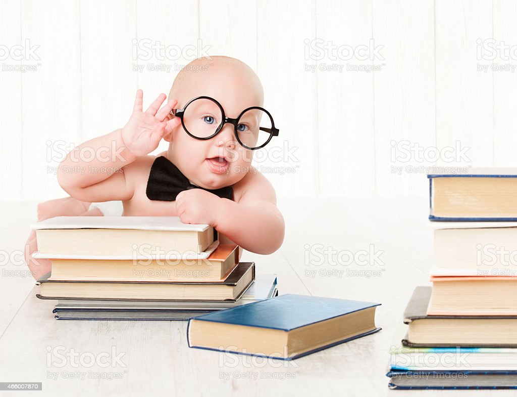 Baby Glasses Books, Preschool Kid, Early Childhood Education and Development stock photo