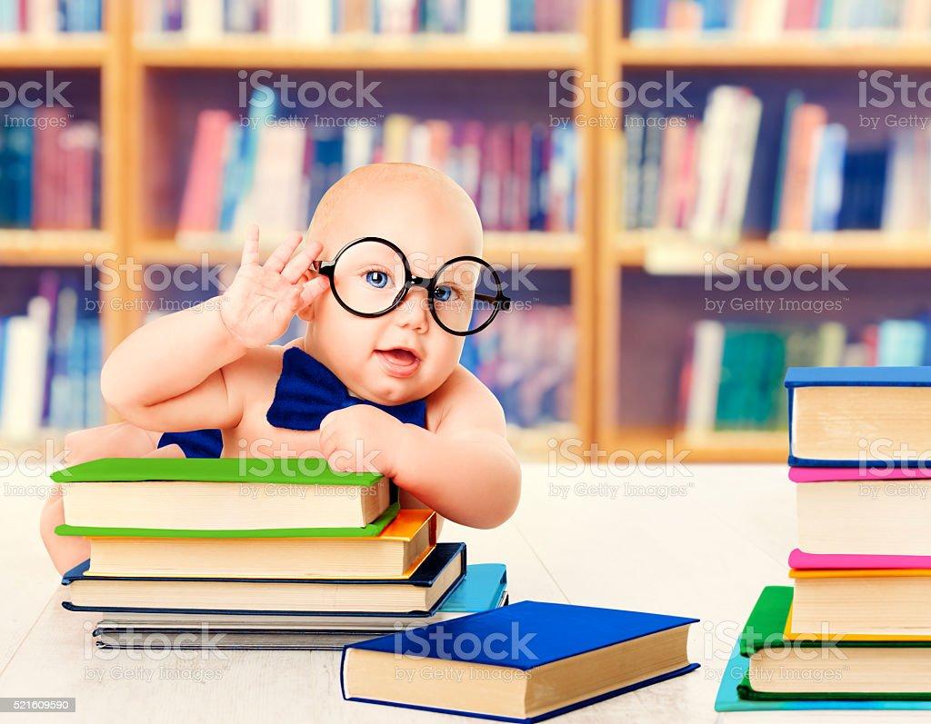 Baby Glasses Read Books, Kid Development Education, Library Book Shelves stock photo