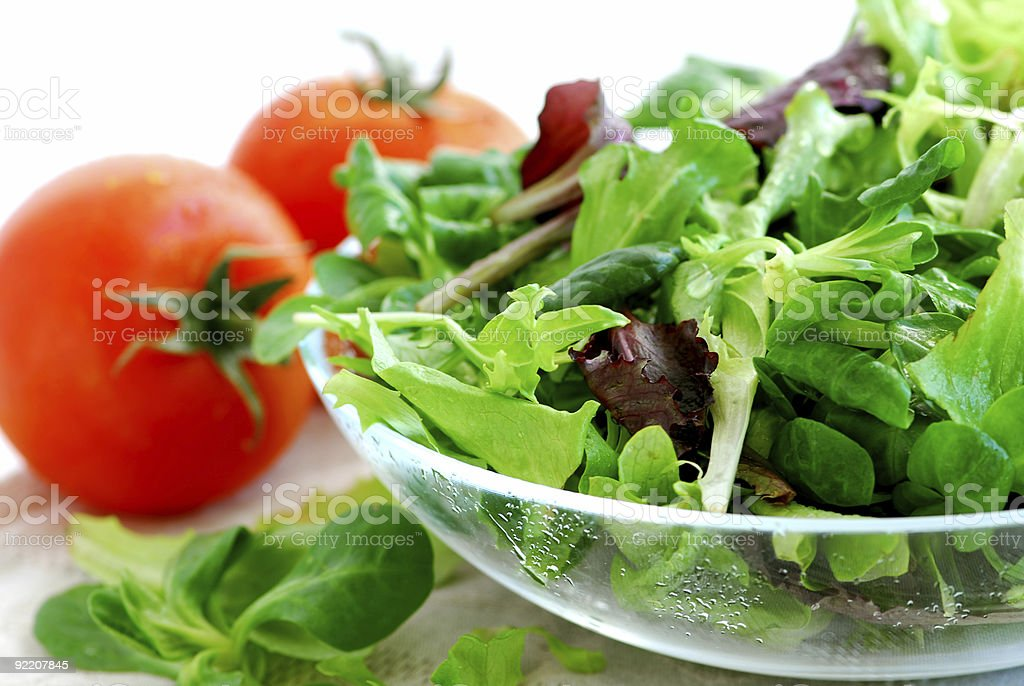 Baby greens and tomatoes royalty-free stock photo