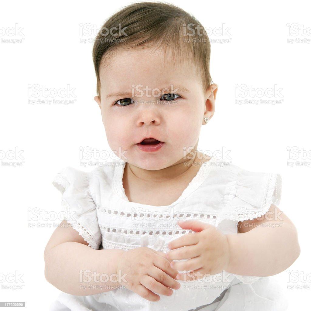 Bébé Grill a quelque chose à dire. photo libre de droits