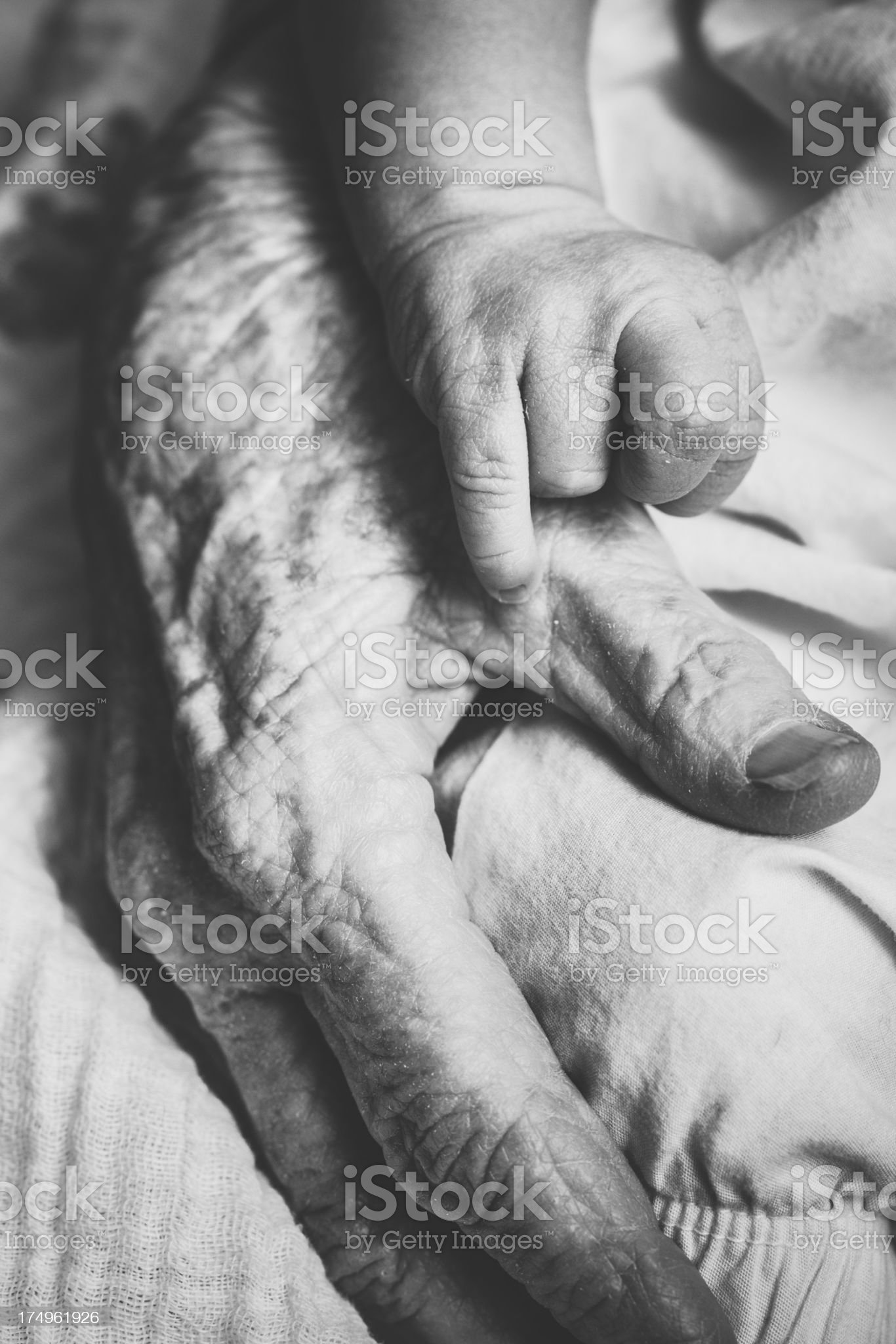 Baby Hand on Elderly Womans royalty-free stock photo