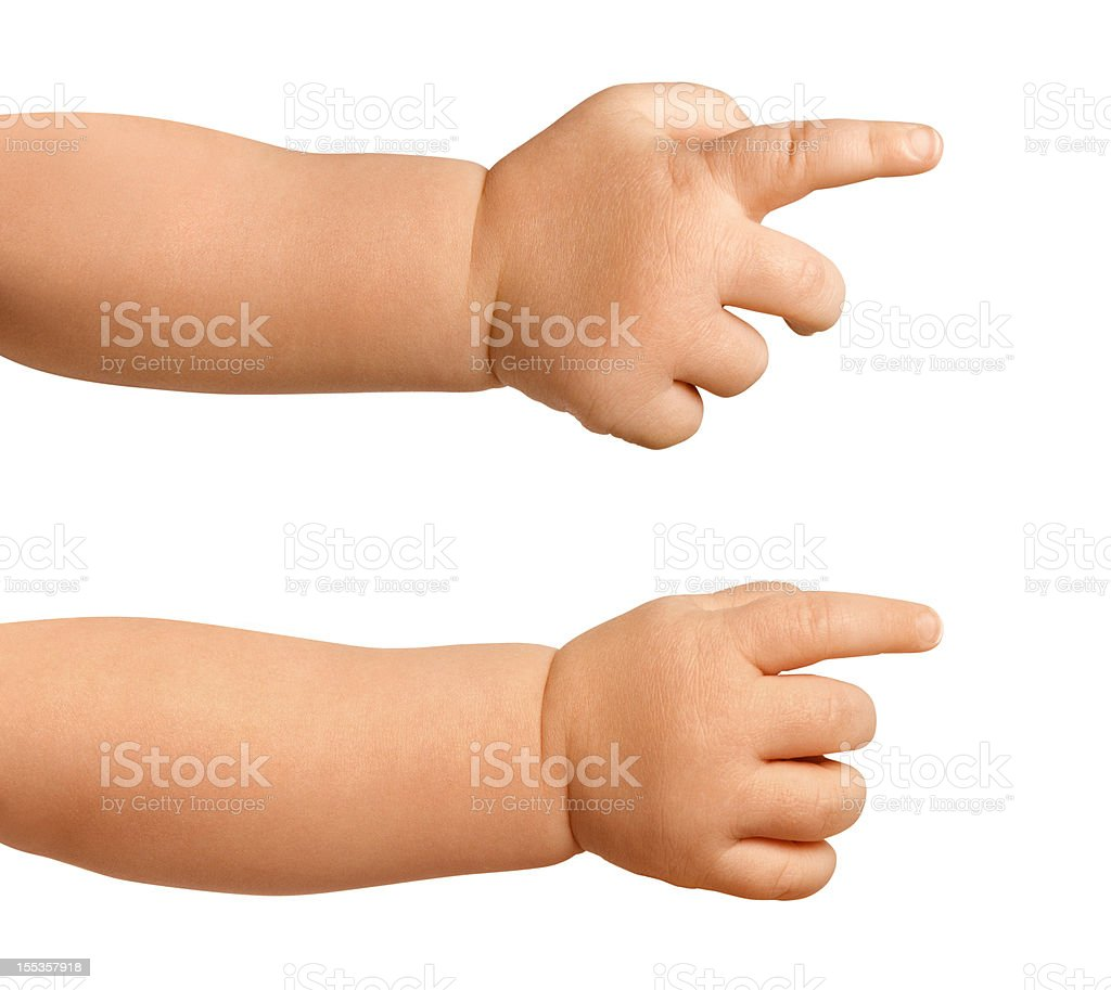 Baby hands pointing stock photo