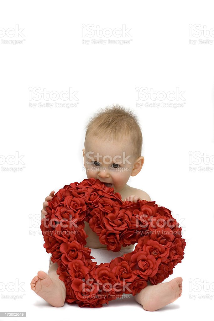 Baby holding flower heart shape royalty-free stock photo
