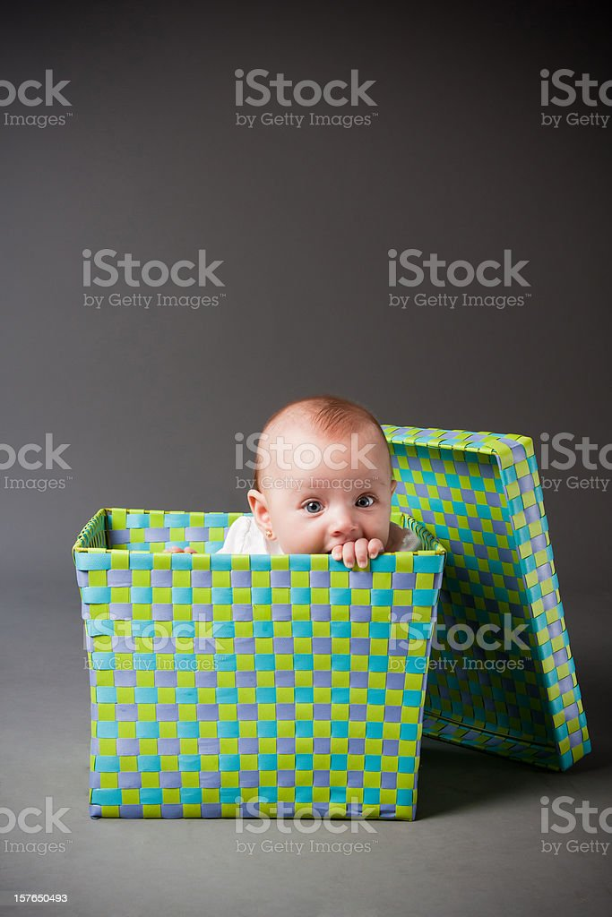 Baby in a box. royalty-free stock photo