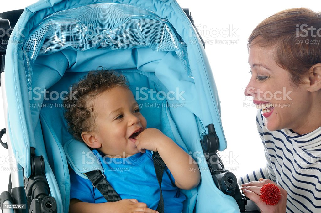 Baby In A Pushchair Smiling royalty-free stock photo