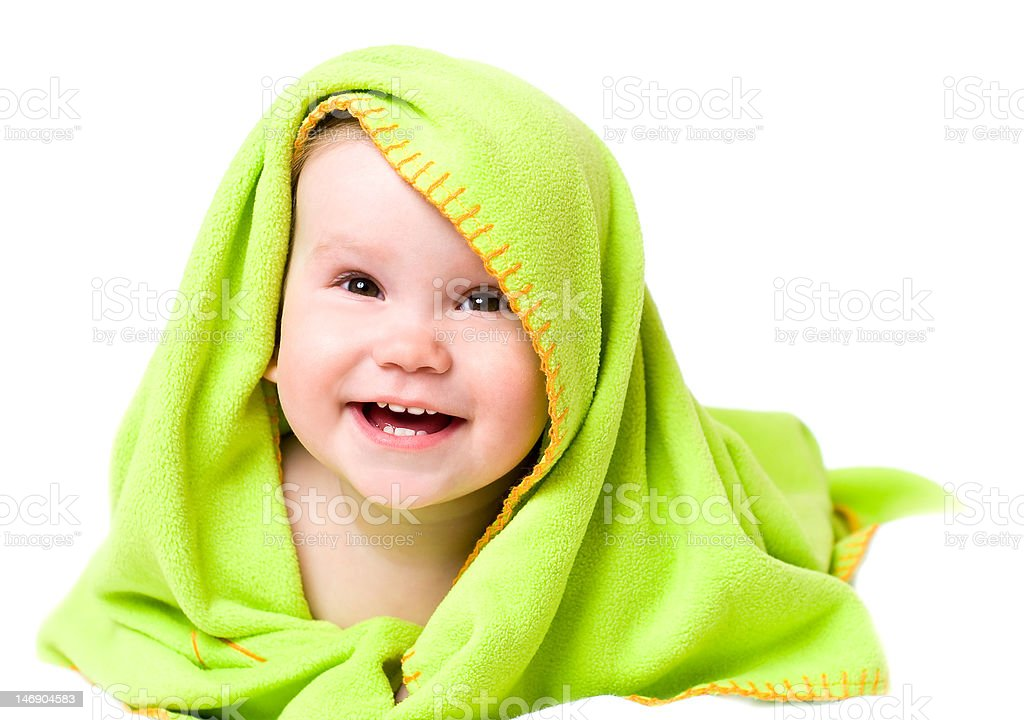 Baby in a towel royalty-free stock photo