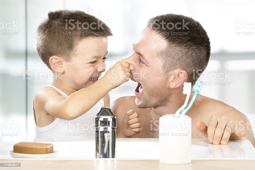 baby in bath with dad royalty-free stock photo
