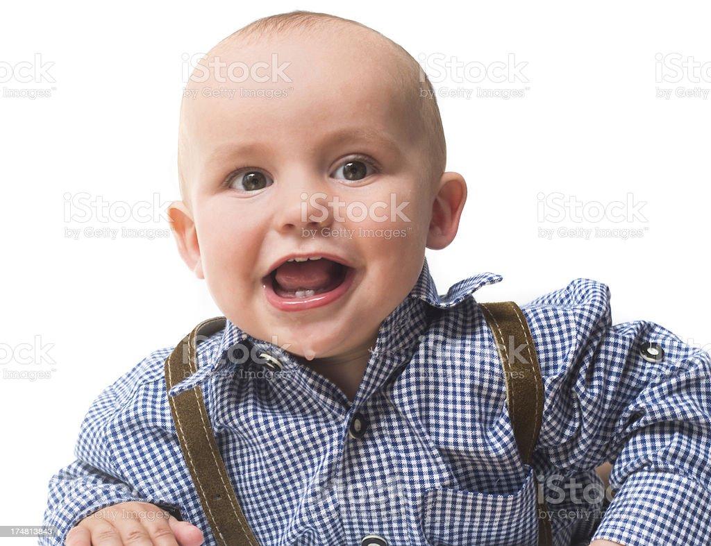 Baby in bavarian clothes studio shot stock photo