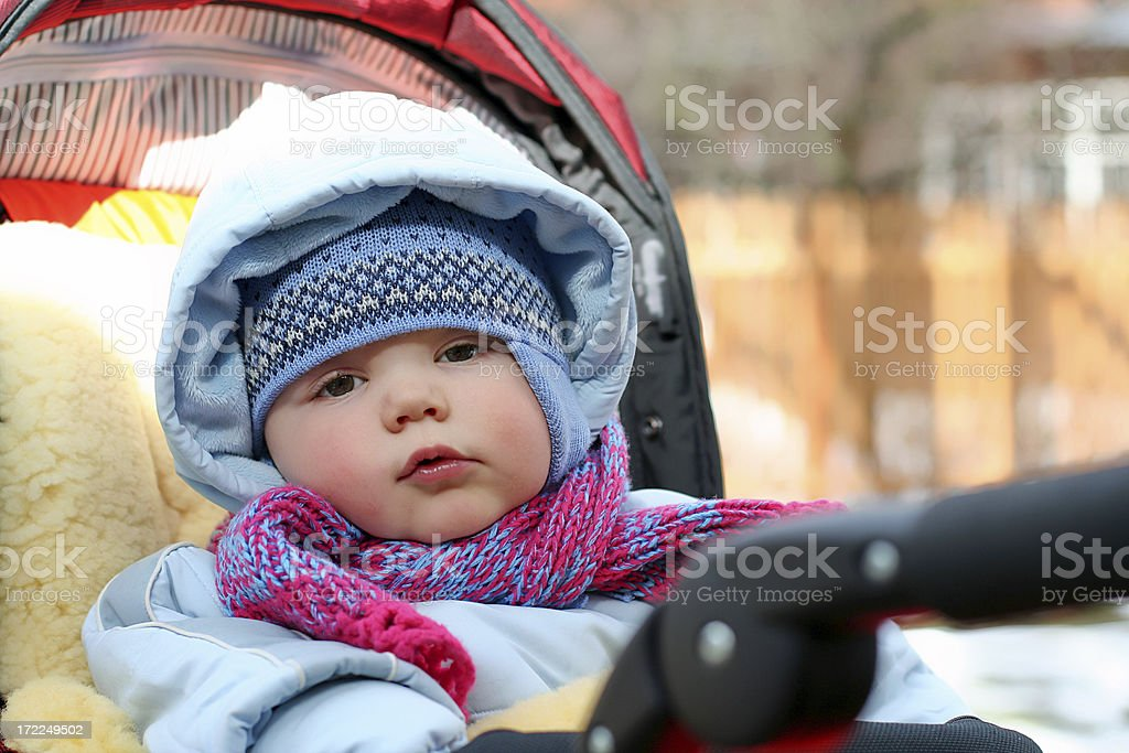 Baby in carriage. royalty-free stock photo