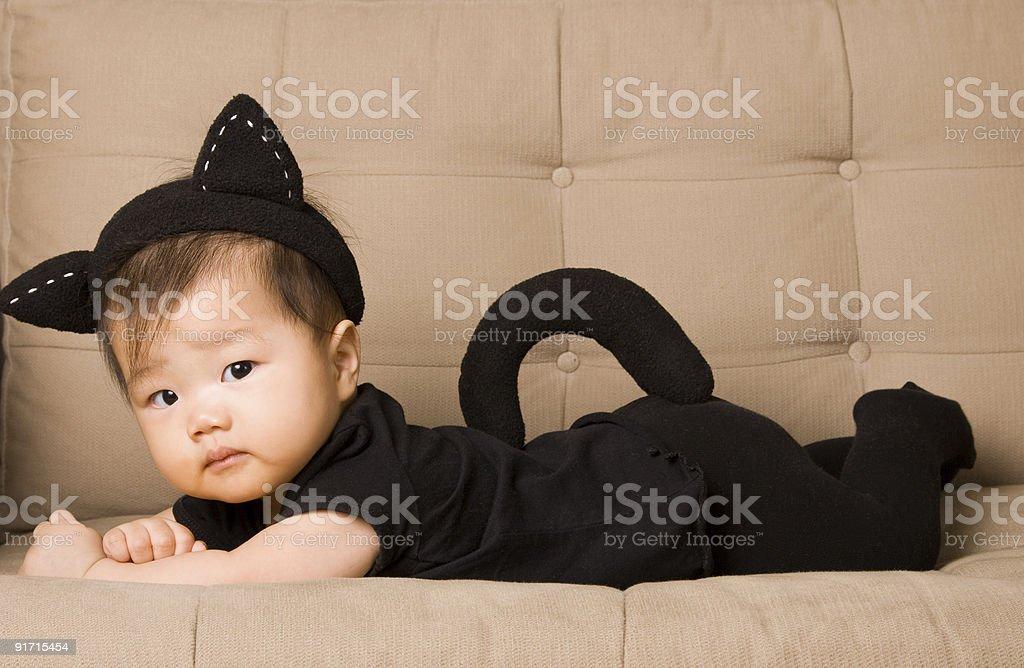 Baby in Cat Costume - Halloween stock photo