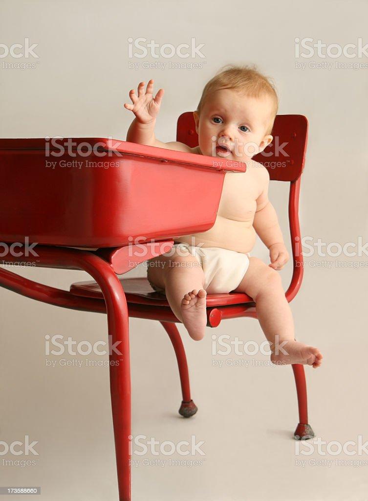 Baby in Desk stock photo