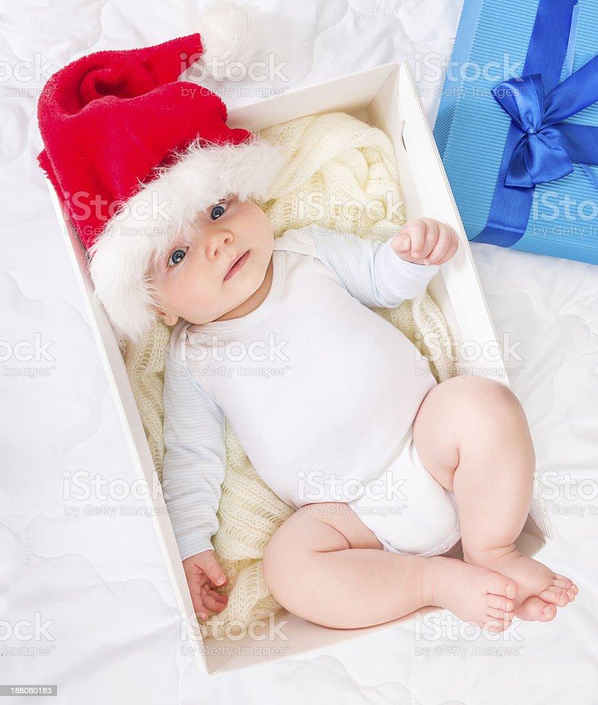 baby in gift box stock photo