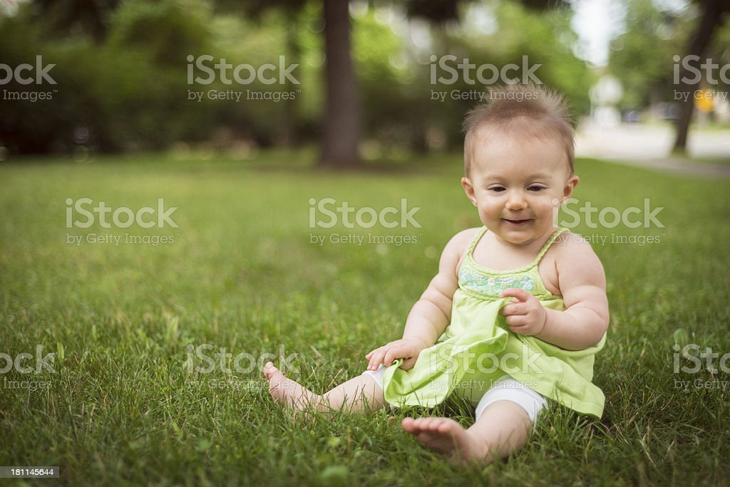 Baby in Grass royalty-free stock photo