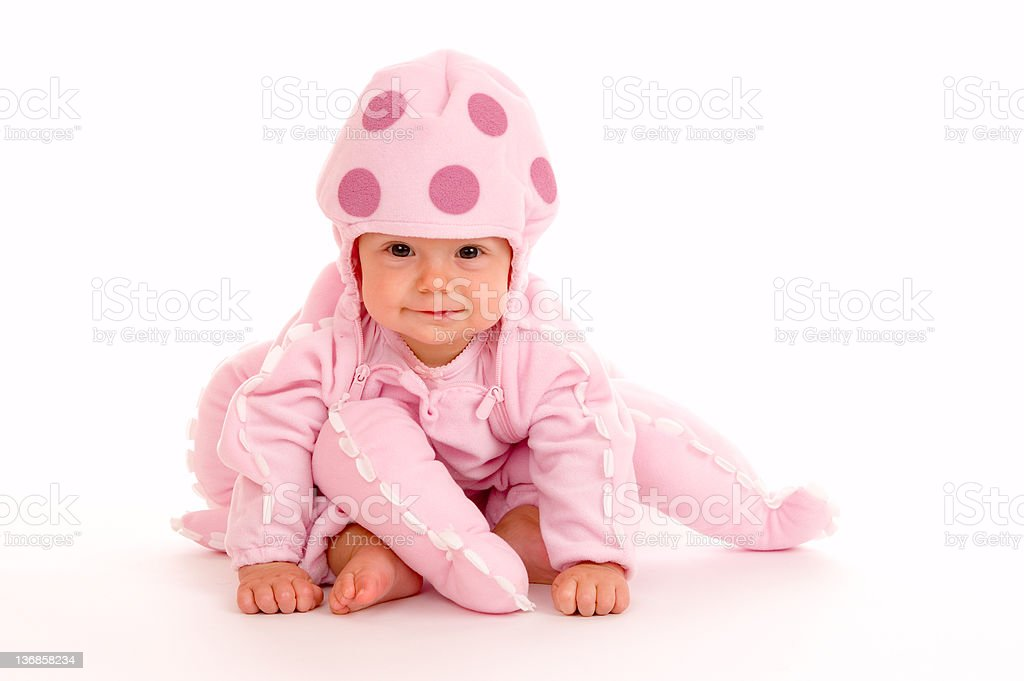 Baby in Halloween Costume stock photo