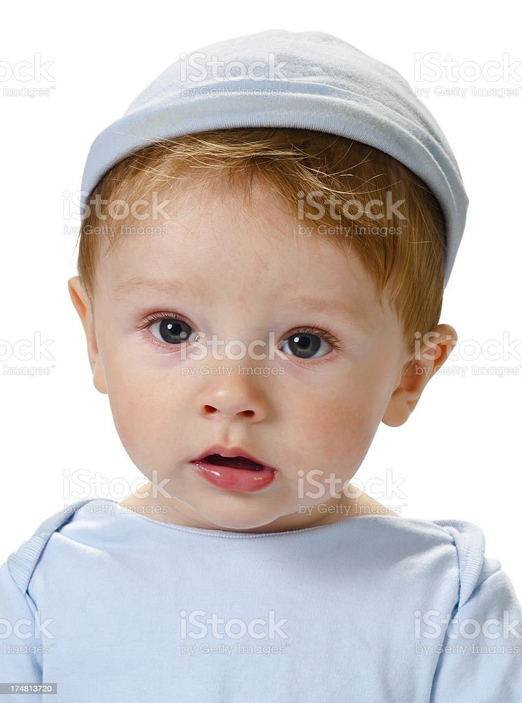 Baby in hat on head - portrait royalty-free stock photo