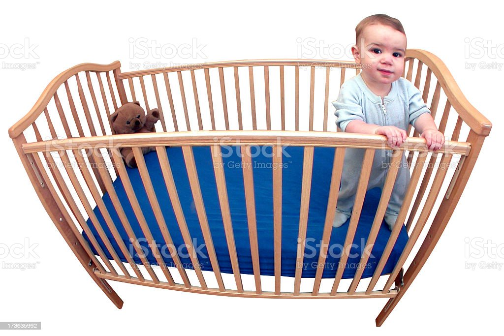 Baby in his crib with clipping path royalty-free stock photo
