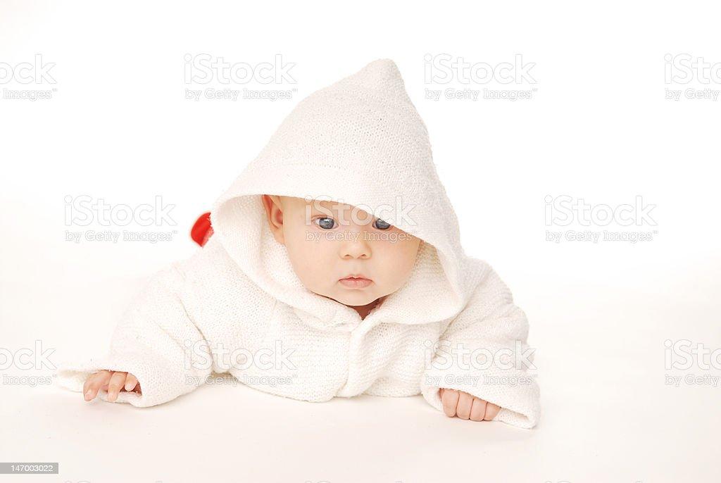 Baby in hood stock photo