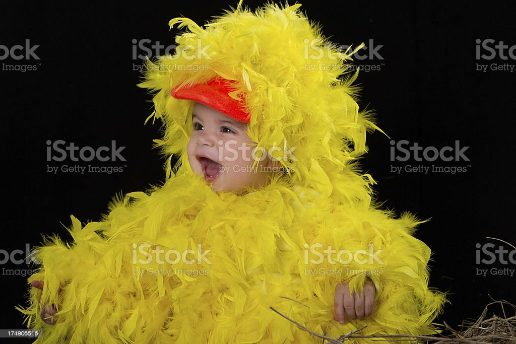 Baby in little chicken costume royalty-free stock photo