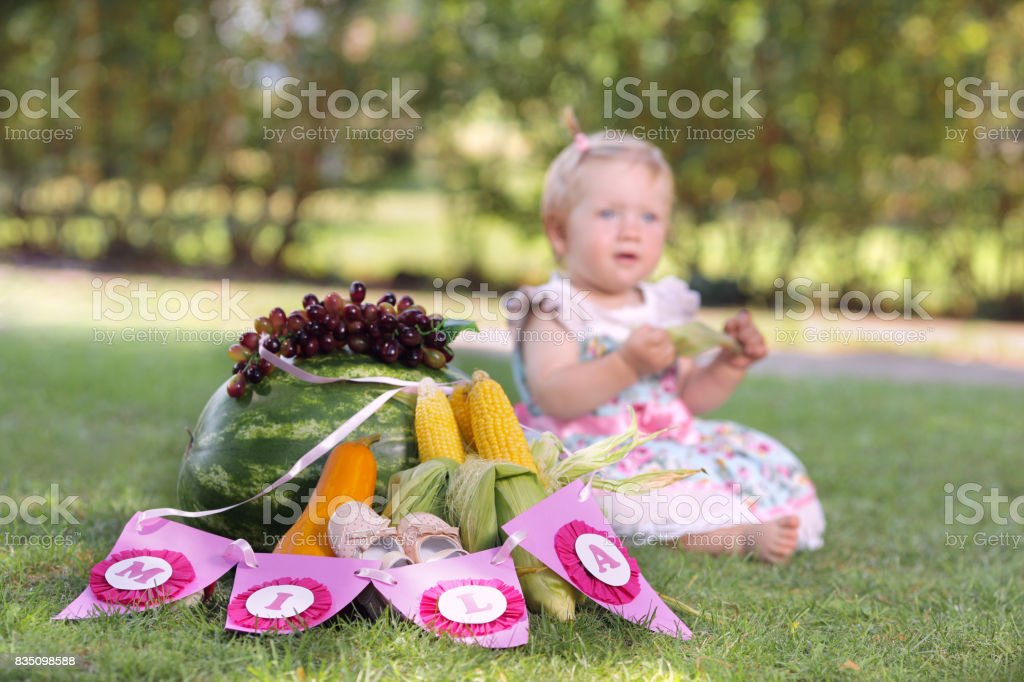 Baby in nature stock photo