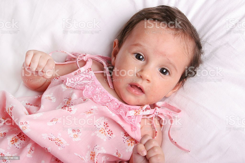 Baby in pink dress royalty-free stock photo