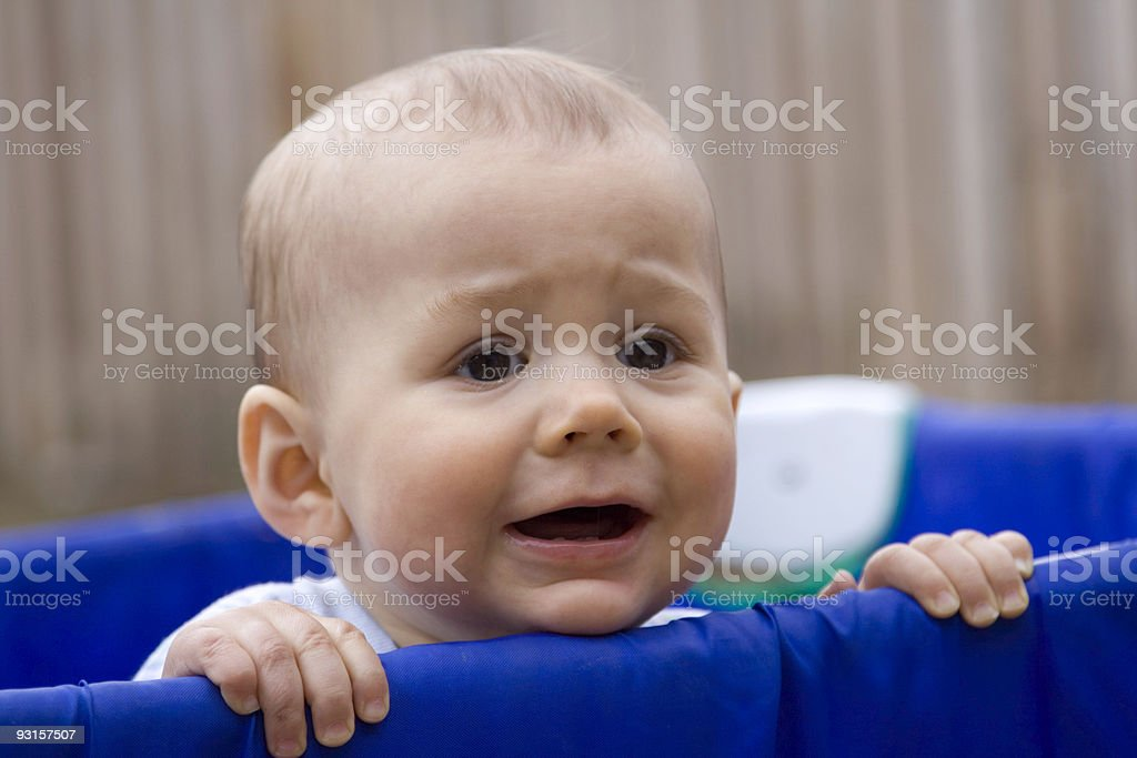 Baby in Playpen stock photo