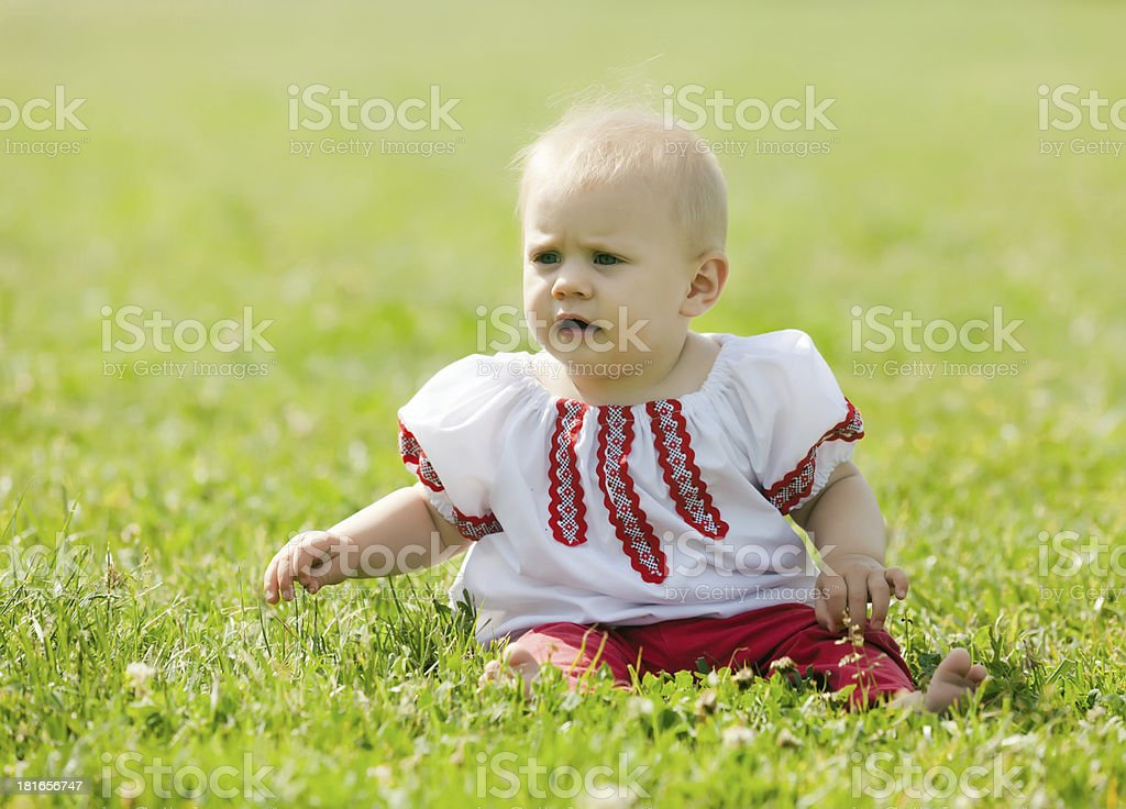 Baby  in russian folk clothes royalty-free stock photo