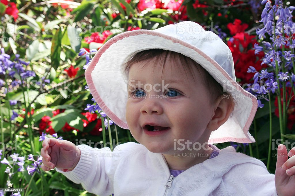 baby in spring flowers royalty-free stock photo