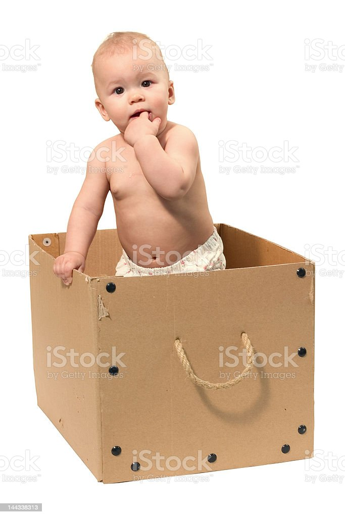 baby in the box royalty-free stock photo