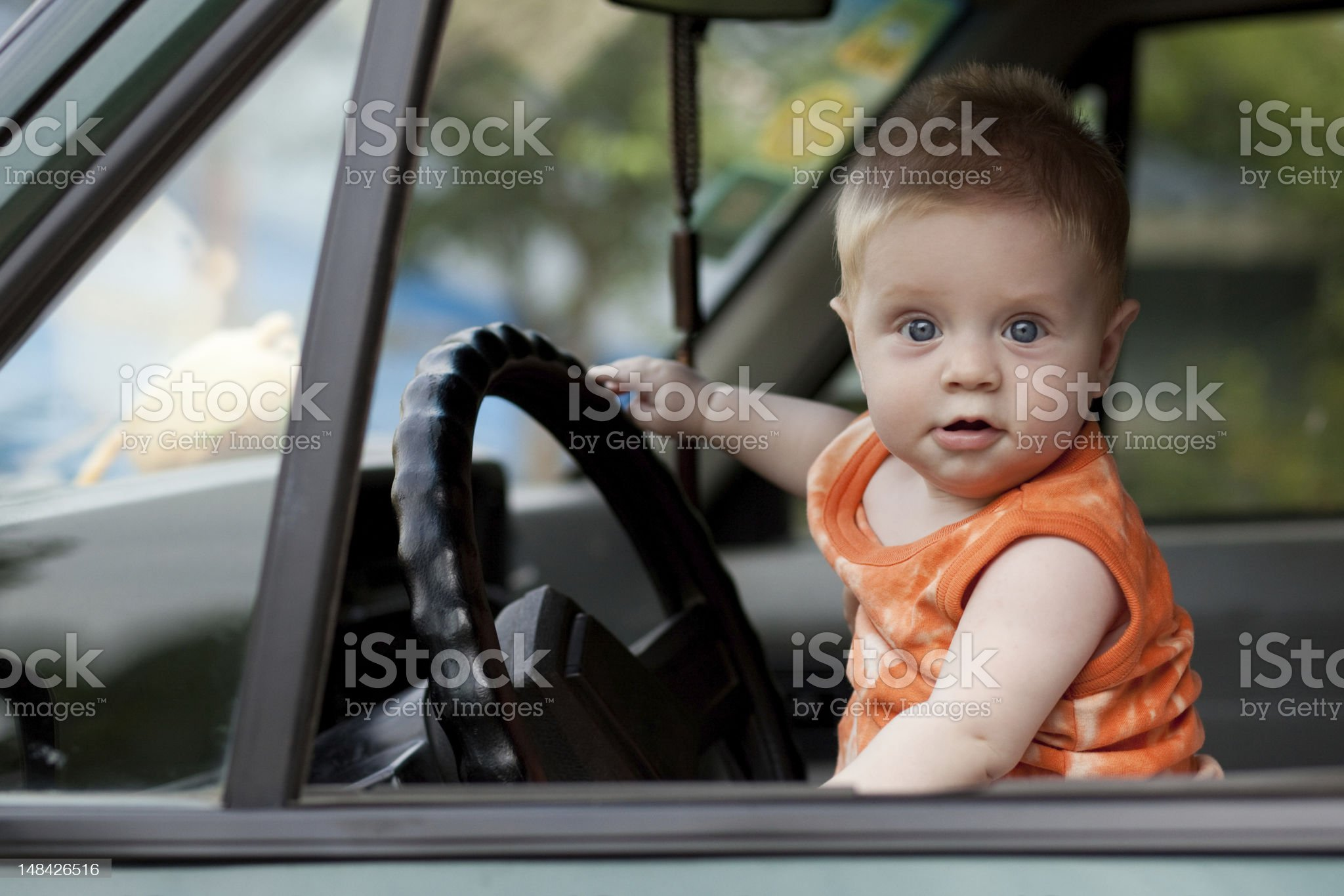 baby in the car royalty-free stock photo