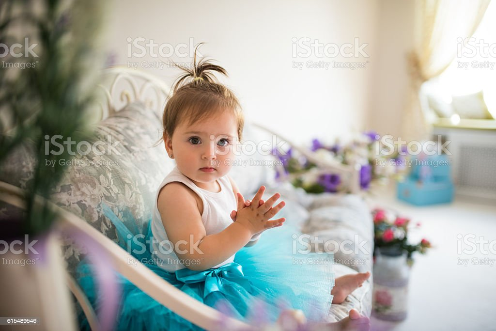 Baby in tutu stock photo