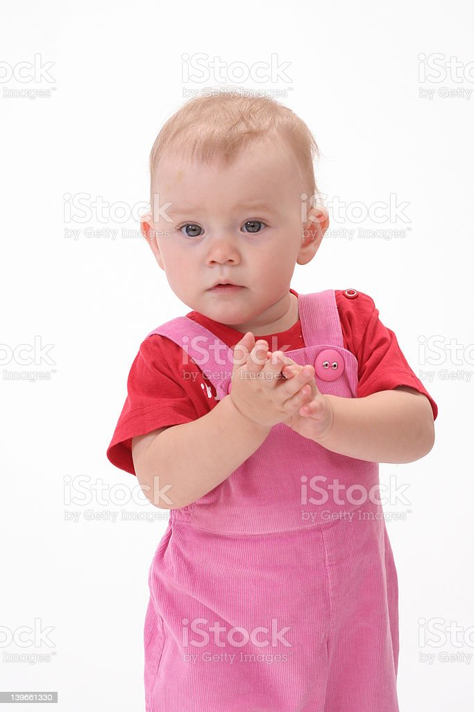 Baby in white background stock photo