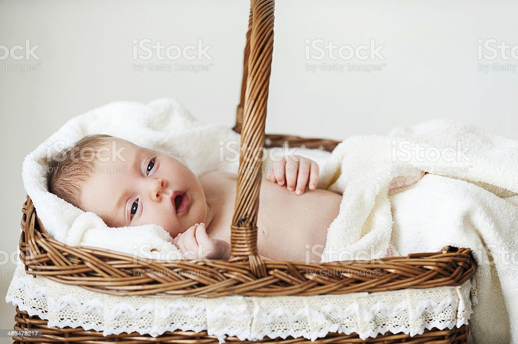 Baby in wicker basket. stock photo