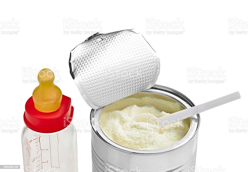 baby infant food powder milk spoon stock photo