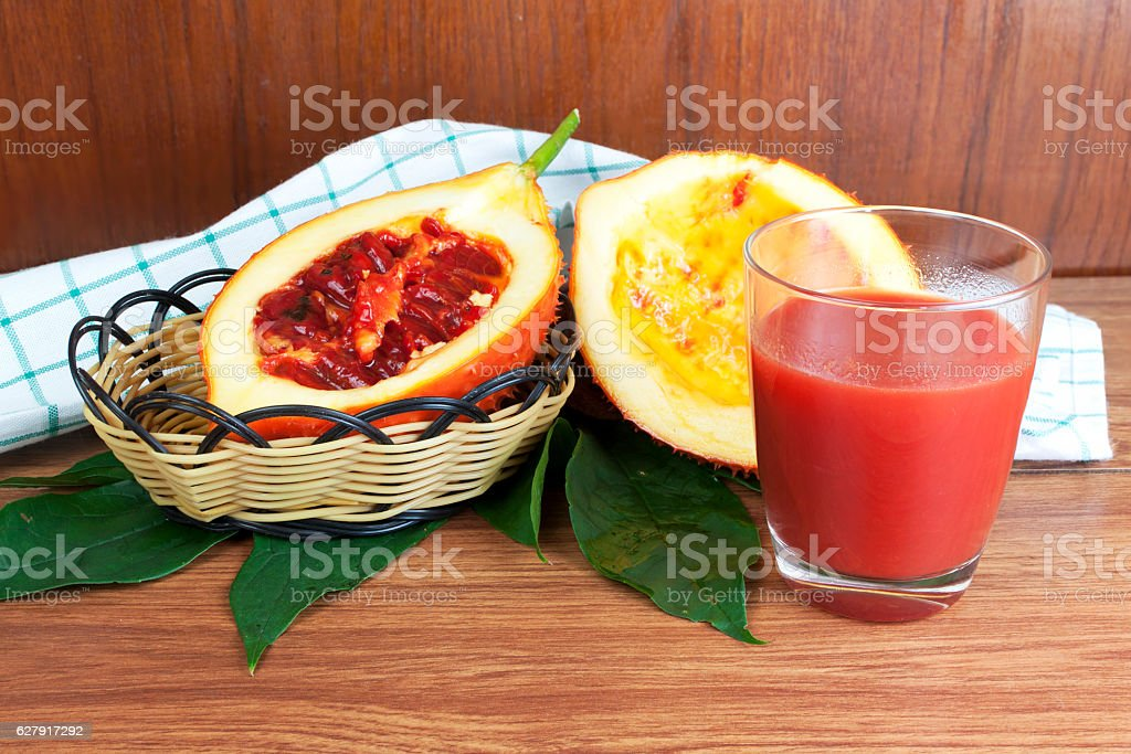 Baby Jack fruit and juice stock photo