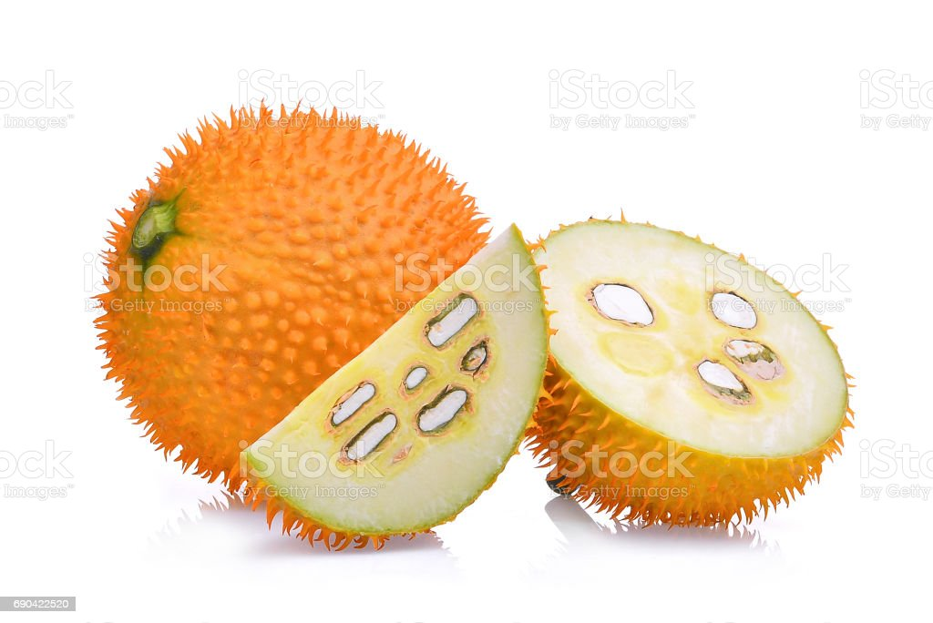 Baby Jackfruit,Gac fruit with slice isolated on white background stock photo