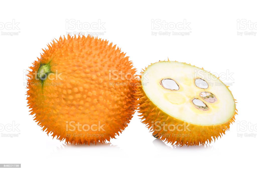 baby jackfruit,gac fruit with slice isolated on white background stock photo