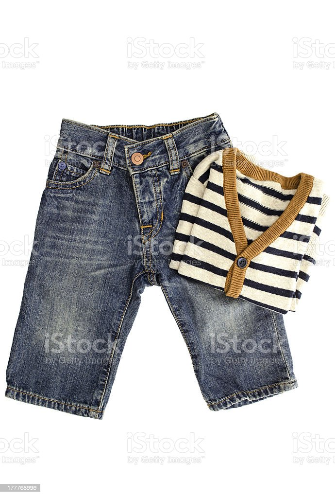 Baby jeans and sweater stock photo