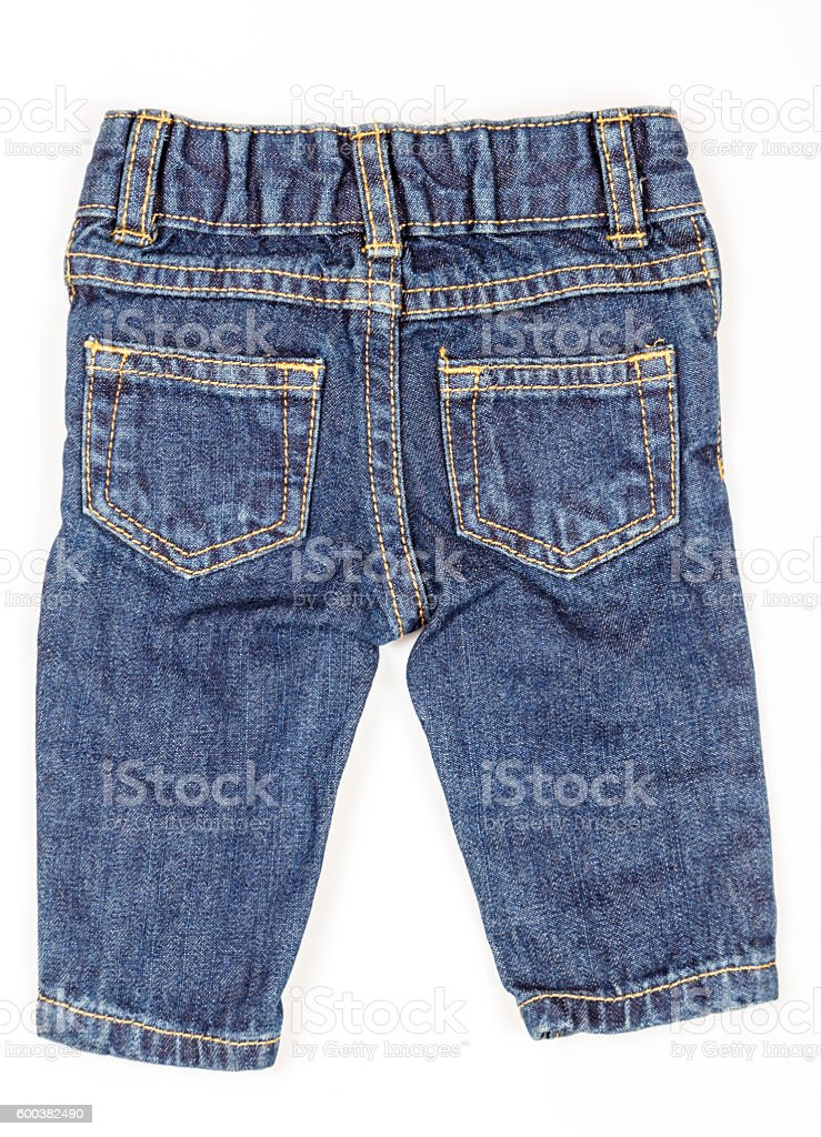 Baby jeans pant isolated on white background. stock photo