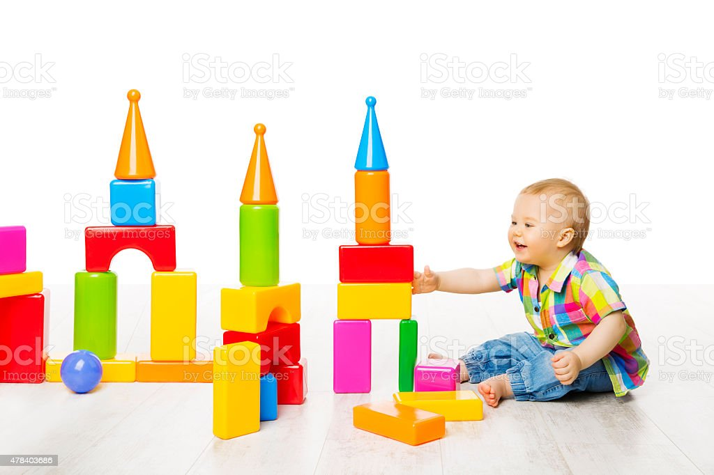 Baby Kid Play Block Toys Building, Child Boy Constructor Game stock photo