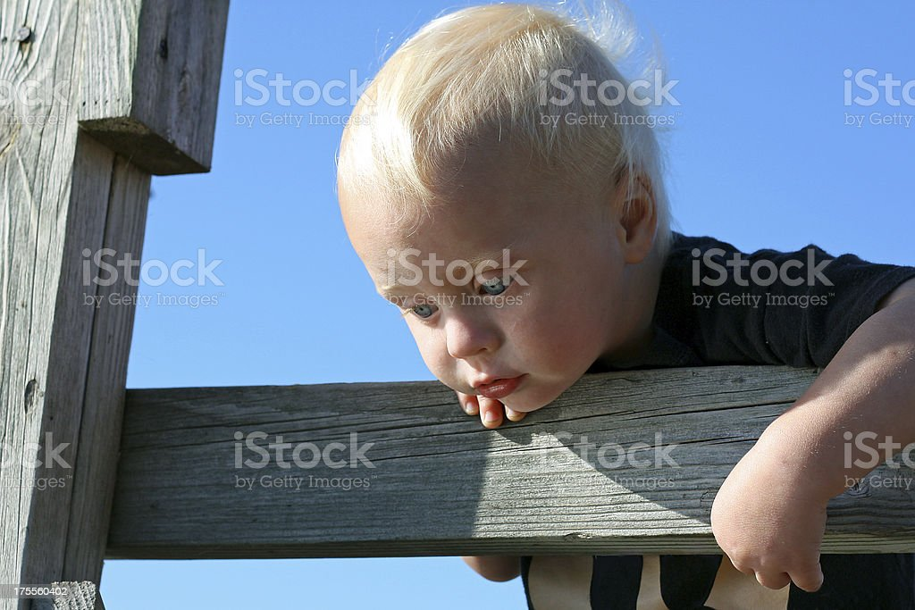 Baby Leaning Over Bridge Rail Looking at Water royalty-free stock photo