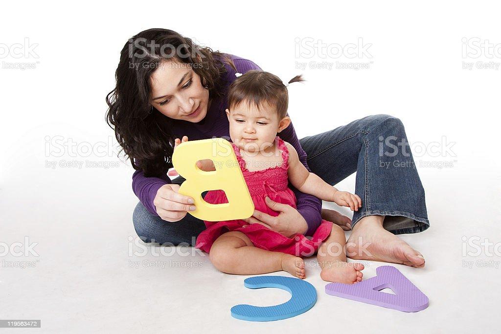 Baby learning alphabet ABC stock photo