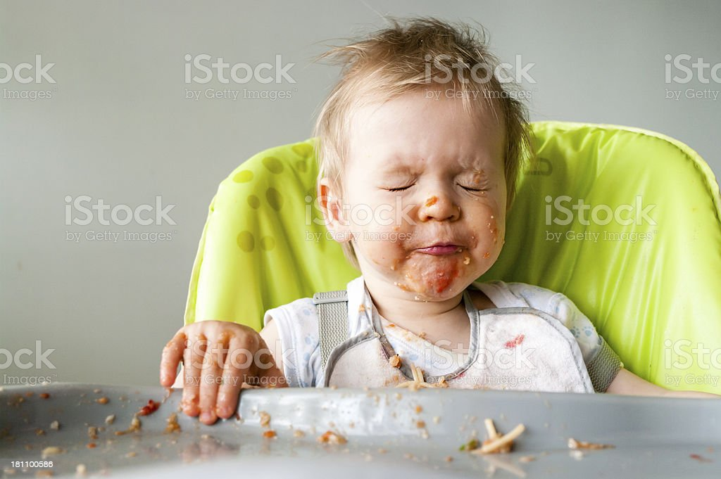 baby - learning to eat royalty-free stock photo