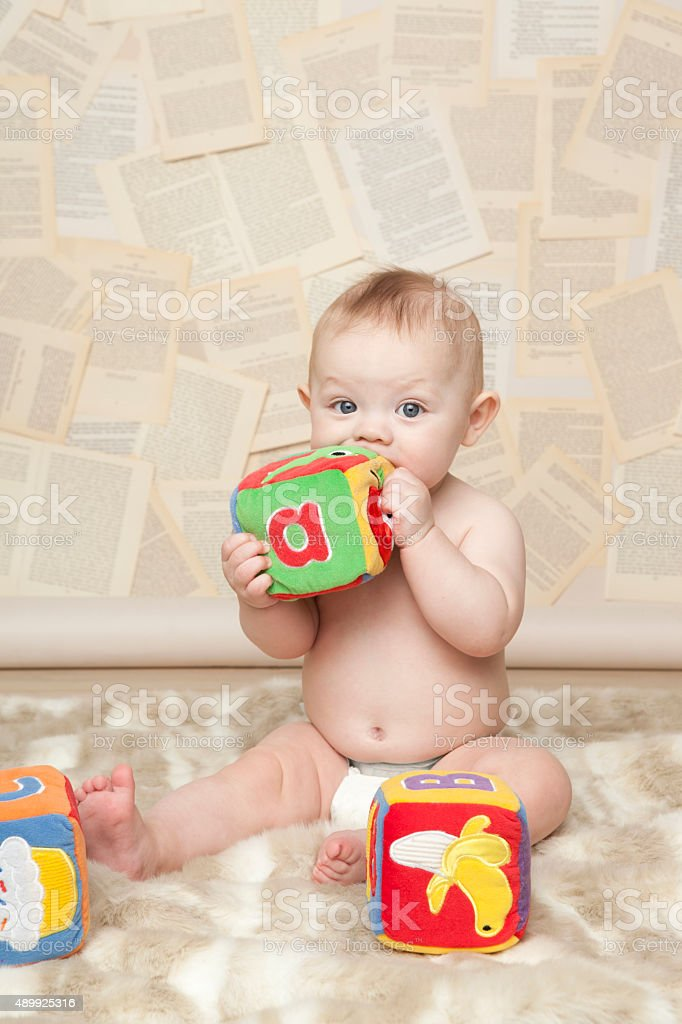 Baby Learning to Read stock photo