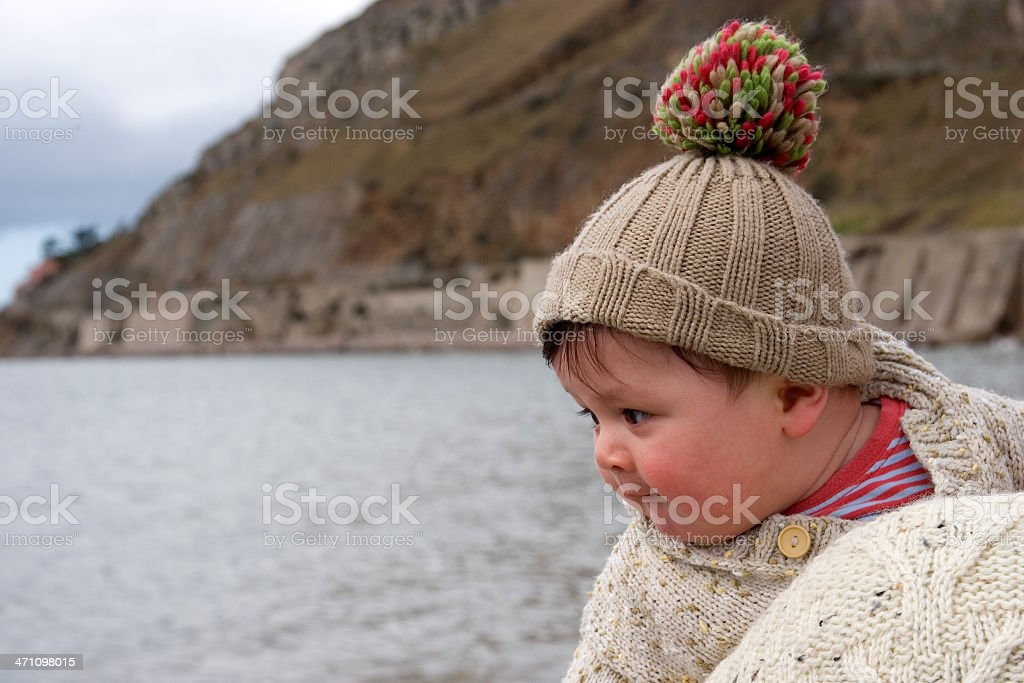 Baby looking at the sea royalty-free stock photo