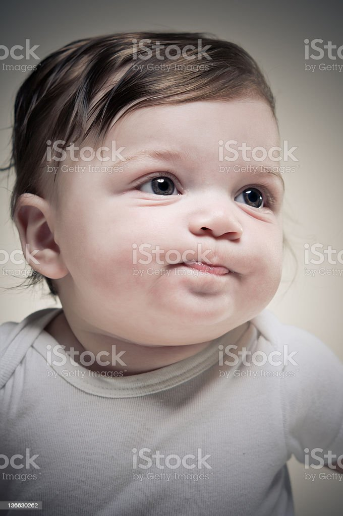 Baby Making A Face stock photo
