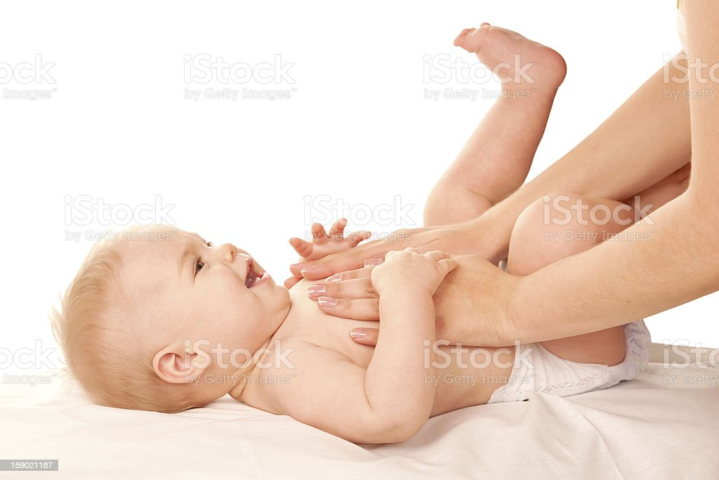 Baby massage. stock photo