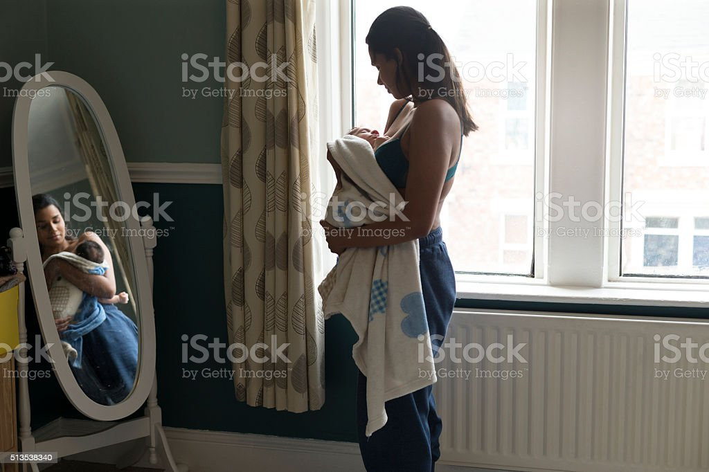 Baby nap time stock photo