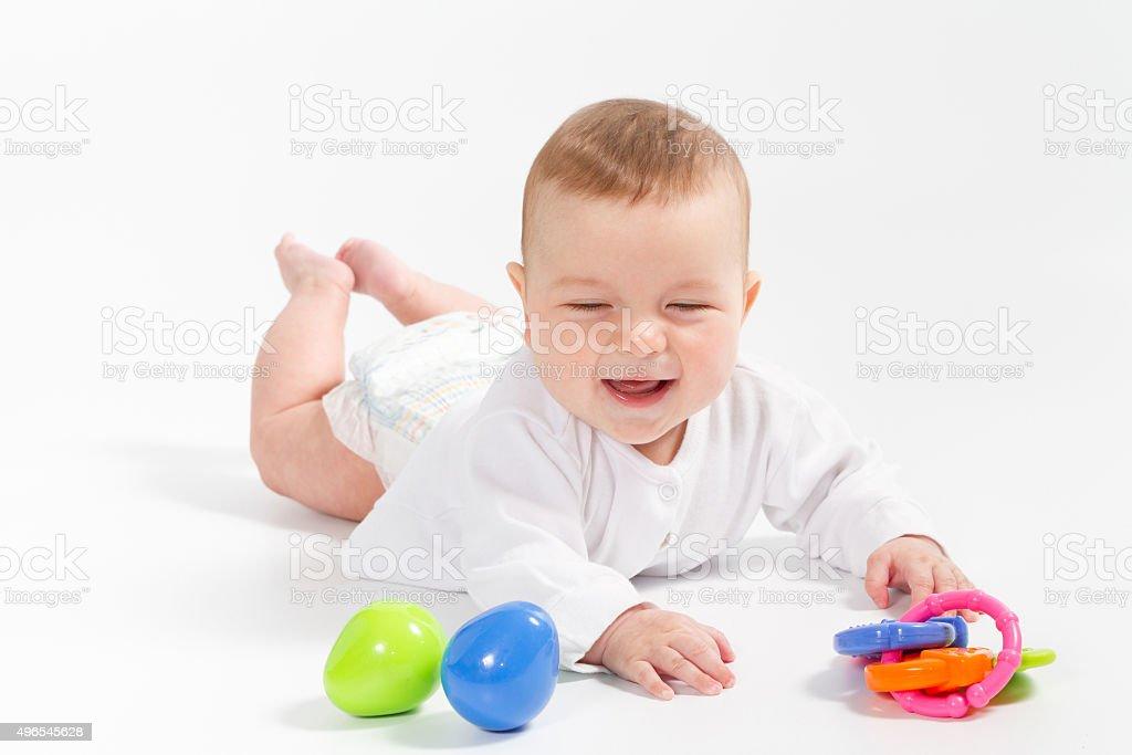 Baby newborn in the shirt closeup on white background. stock photo