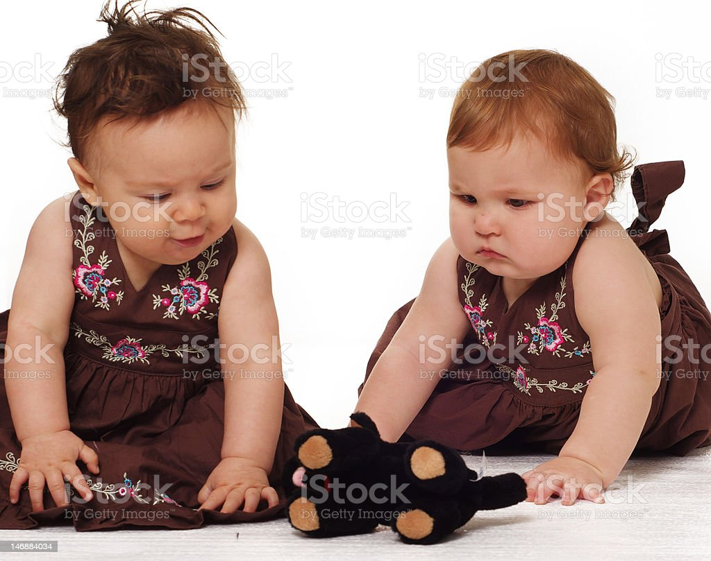 Baby nfant girls playing royalty-free stock photo
