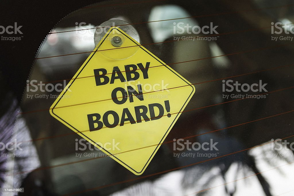 baby on board yellow car Sticky sign stock photo